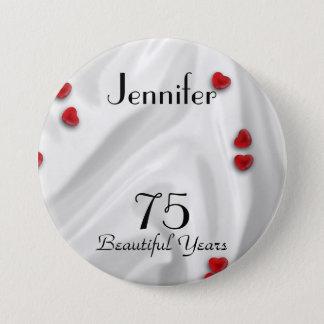 soixante-quinzième Bouton d'anniversaire/Pin, Badge Rond 7,6 Cm