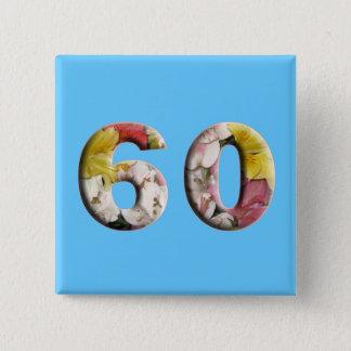 soixantième Anniversaire d'anniversaire 60 ans de Badge Carré 5 Cm