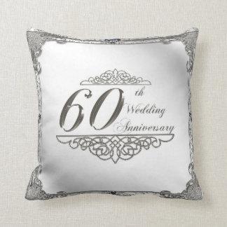 soixantième Carreau d'anniversaire de mariage Oreillers