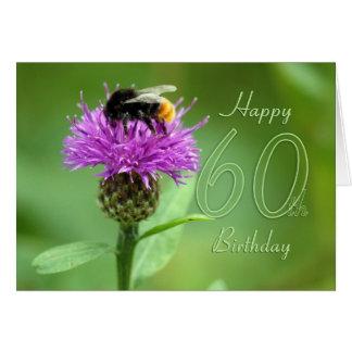 soixantième Carte d'anniversaire avec la fleur -