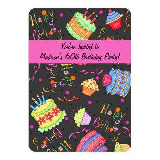 Soixantième invitation d'anniversaire de gâteau