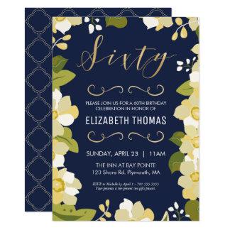 soixantième Invitation d'anniversaire, fleurs de