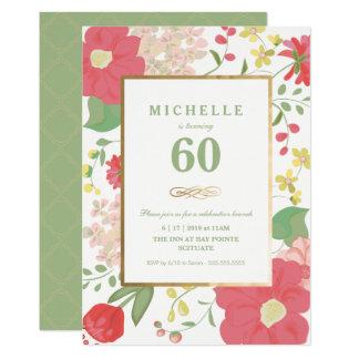 soixantième Invitation d'anniversaire - or, floral
