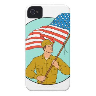 Soldat américain ondulant le dessin de cercle de coques iPhone 4