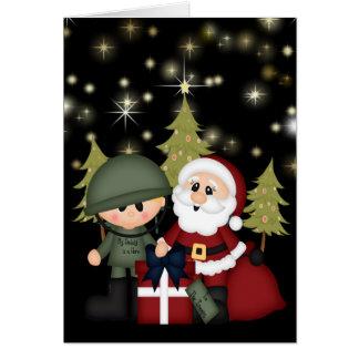 Soldat militaire et Noël du père noël Carte