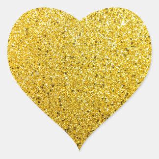 Soleil scintillant d'or sticker cœur