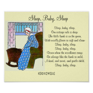 """""""Sommeil, bébé, poster vintage de sommeil"""""""