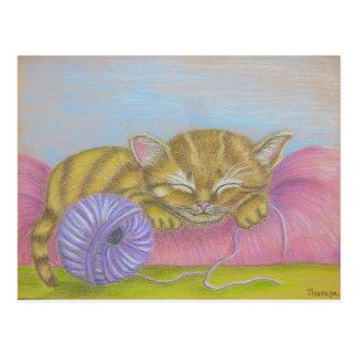 sommeil de chat carte postale