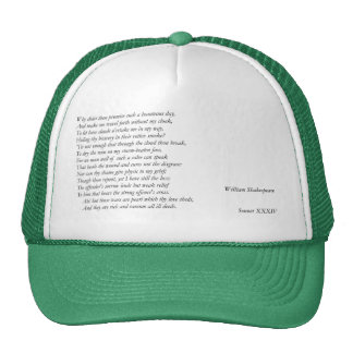 Sonnet # 34 par William Shakespeare Casquette