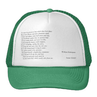 Sonnet # 35 par William Shakespeare Casquette