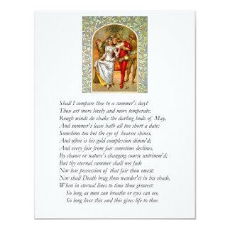 Sonnet de Shakespeare # 18 Carton D'invitation 10,79 Cm X 13,97 Cm