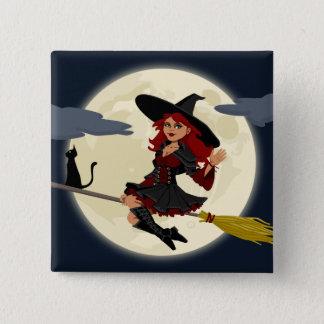 Sorcière amicale de Halloween sur le balai et le Badge Carré 5 Cm