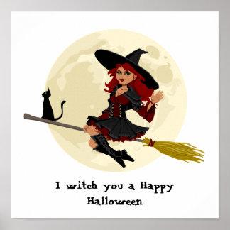 Sorcière amicale de Halloween sur le balai et le Poster