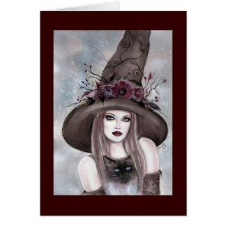 Carte Sorcière de Halloween avec la carte de minou par