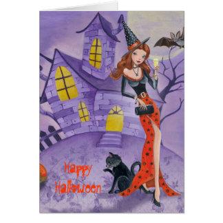Sorcière de Halloween - carte de voeux saisonnière
