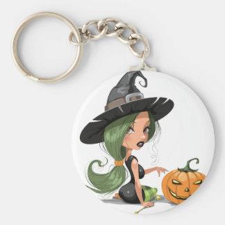 Sorcière de Halloween Porte-clé Rond