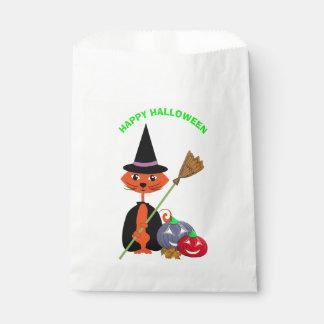 Sorcière mignonne heureuse de chat de Halloween Sachets En Papier