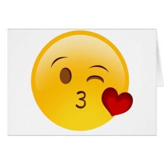 Soufflez un autocollant d'emoji de baiser carte de vœux