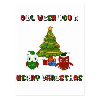 Souhait de hibou vous d'un Joyeux cadeaux Noël Cartes Postales