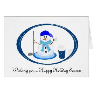 Souhaits de bonhomme de neige de golfeur carte de vœux