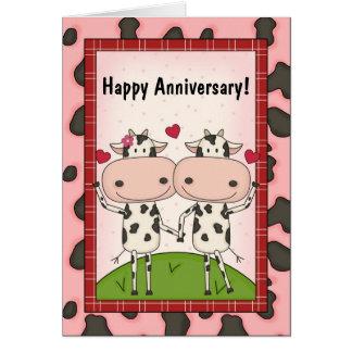 Souhaits mignons d'anniversaire de mariage carte de vœux