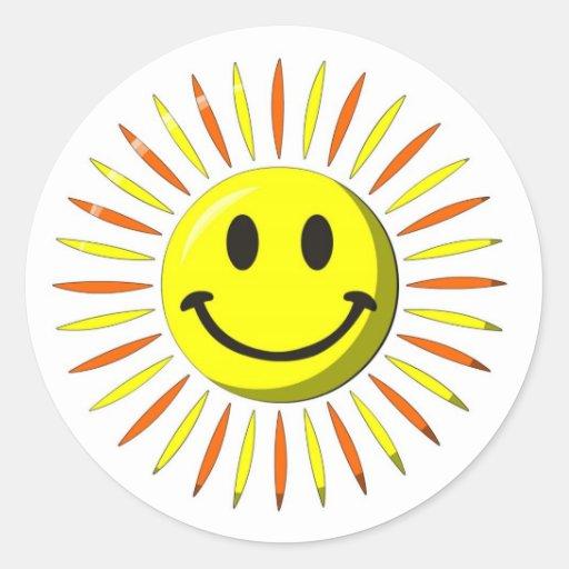 Sourire heureux lumineux - visage souriant autocollant rond