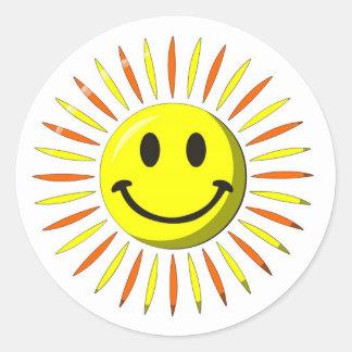 Sourire heureux lumineux - visage souriant sticker rond