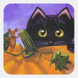 Souris Creationarts de chat noir de Halloween de Sticker Carré
