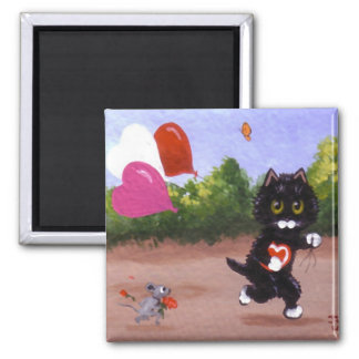 Souris Creationarts de chat noir de Saint-Valentin Aimant