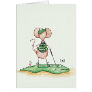 Souris de golfeur carte de vœux