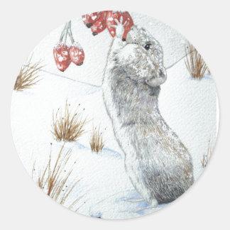Souris mignonne et art rouge de faune de scène de sticker rond