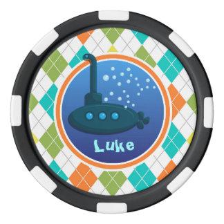 Sous-marin sur le motif à motifs de losanges rouleau de jetons de poker