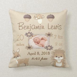 Souvenir de bébé de photo de crèche d'animaux de coussin