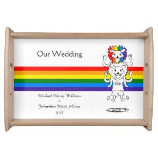 Souvenir de mariage d'arc-en-ciel d'amusement de plateaux de service