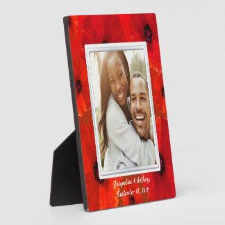 Souvenir rouge de photo de nouveaux mariés de plaque photo
