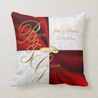 Souvenir rouge et blanc de mariage damassé coussin décoratif