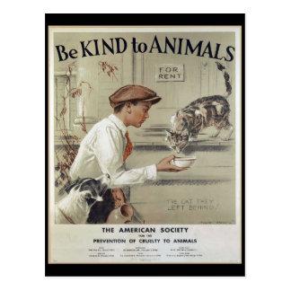 Soyez aimable avec des animaux - poster vintage carte postale