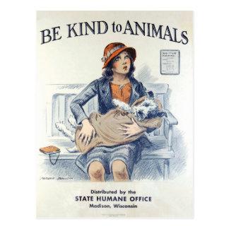 Soyez aimable avec la carte postale de cru des