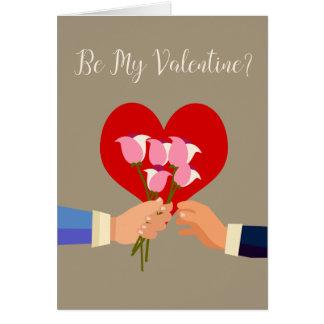 Soyez mes roses et coeur orientés gais de carte de vœux