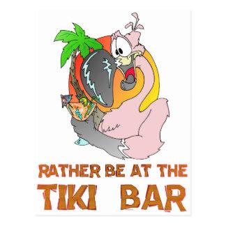 Soyez PLUTÔT au FLAMANT de barre de Tiki Carte Postale