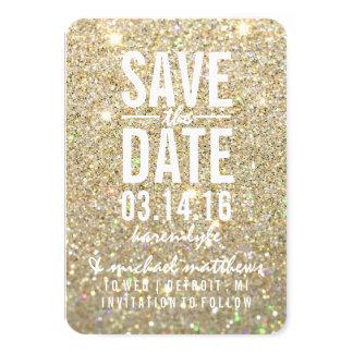 Sparen Datum | schittert het Goud Fab 8,9x12,7 Uitnodiging Kaart