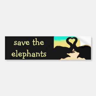 Sparen de het hartboomstammen van Olifanten Bumpersticker