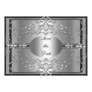 Sparen de Zilveren Elegante Uitnodiging van de 12,7x17,8 Uitnodiging Kaart