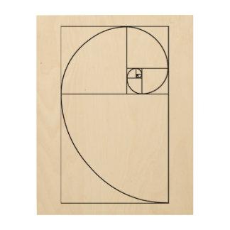 Spiraalvormig houten het paneelart. van Fibonacci Houten Canvas Prints