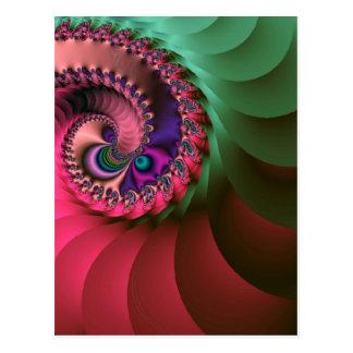 spirales colorées par fractale carte postale