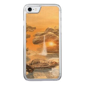 Squelette de T-rex dans un monde imaginaire avec Coque En Bois iPhone 7