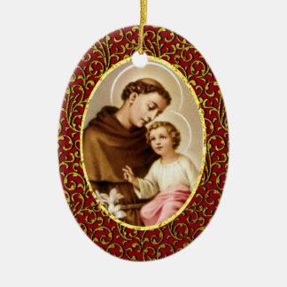 St Anthony de Padoue personnalisent la couleur Ornement Ovale En Céramique