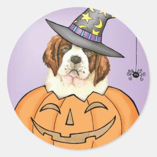 St Bernard Halloween Sticker Rond