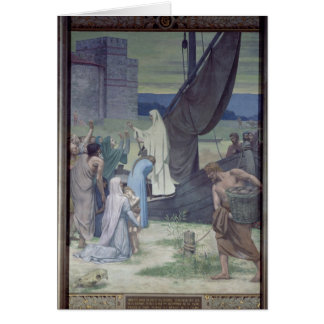 St Genevieve apportant des approvisionnements Carte De Vœux