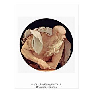 St John l'évangéliste Tondo par Jacopo Pontormo Carte Postale